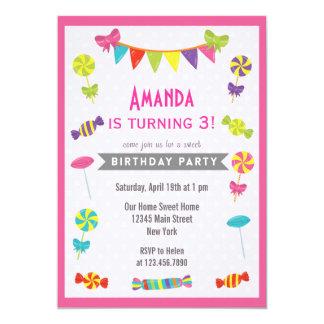 Candy Land Birthday Invitation Pink