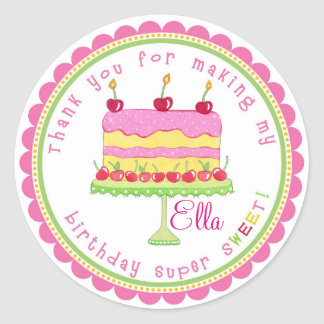 Candy Land Cake Birthday Party Favor Stickers