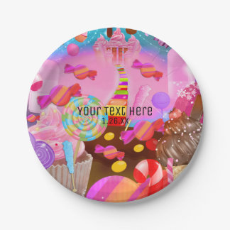 Candy Land Party Fantasy Birthday Personalized Paper Plate