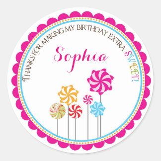 Candy Land Pinwheel Birthday Stickers