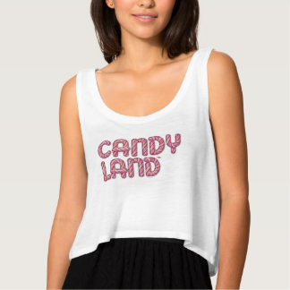 Candy Land Stacked Logo Flowy Crop Tank Top
