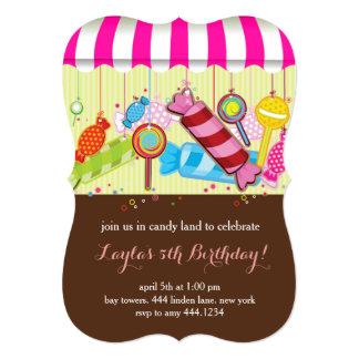Candy land Sweet Shop Birthday Invitations
