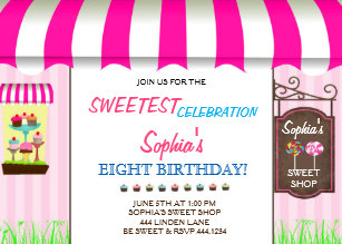 candy shop invitations zazzle