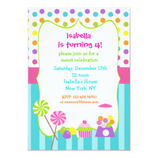Candy land sweet shoppe birthday invitations
