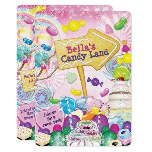 Candyland Birthday Invitations Announcements Zazzle