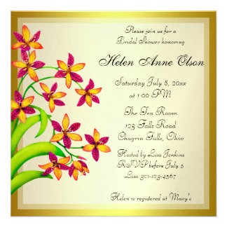 Candy Lily Flowers Gold Bridal Shower Invites