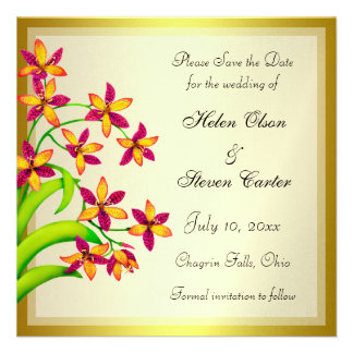 Candy Lily Flowers Gold Save the Date Invitations