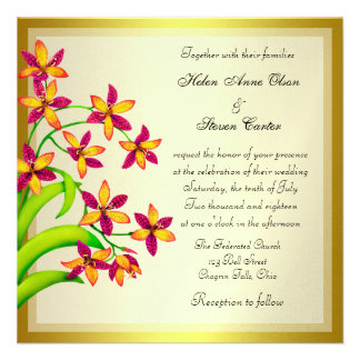 Candy Lily Flowers Gold Wedding Invitations