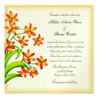 Candy Lily Flowers Wedding Invitations