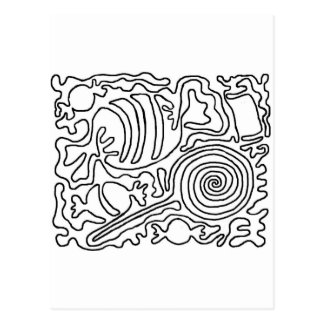 Candy line art postcard