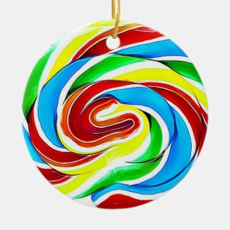 Candy Lollipop Realistic Food Christmas Ceramic Ornament