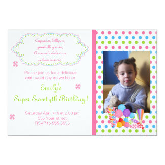 Candy Lollipop Sweet Birthday Photo Invitation