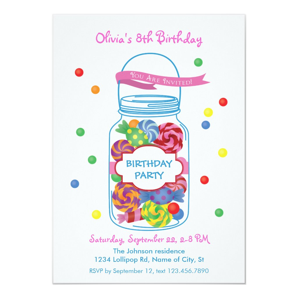 Candy Mason Jar Birthday Invitation