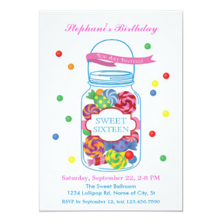 Candy Mason Jar Sweet Sixteen Invitation