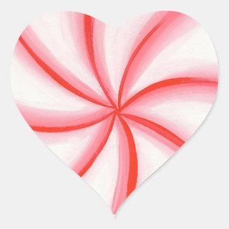 Candy Mint Swirl Heart Shaped Stickers