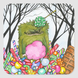 Candy Monster-Stickers Square Sticker