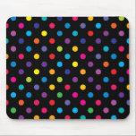 "Candy on Black Polka Dot Mouse Pad<br><div class=""desc"">Vintage style candy polka dot pattern on black. Retro design chic.</div>"