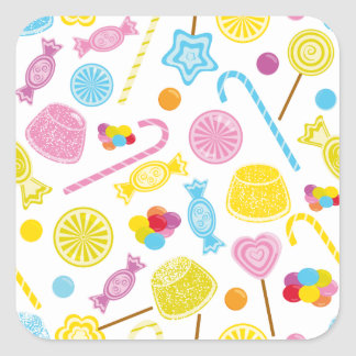 Candy Pattern Lollipop Gumdrops Party Supplies Square Sticker