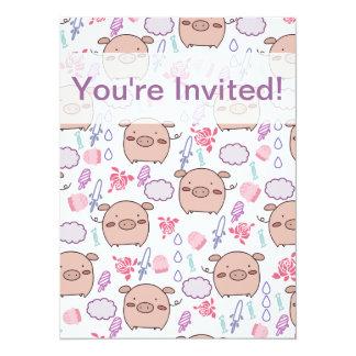 Candy Piggies Pattern 5.5x7.5 Paper Invitation Card
