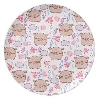Candy Piggies Pattern Dinner Plates