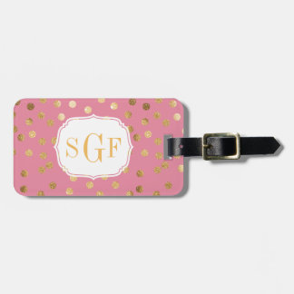 Candy Pink and Gold Glitter City Dots Monogram Bag Tag