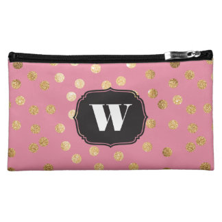 Candy Pink and Gold Glitter Dots Custom Monogram Cosmetic Bag