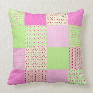 Candy Pink and Green Ditsy Patchwork Large Throw Pillow