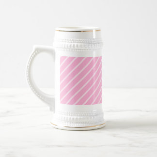 Candy Pink Diagonal Striped Pattern. Beer Stein