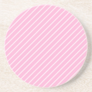 Candy Pink Diagonal Striped Pattern. Drink Coaster