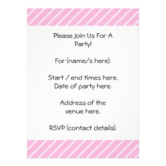 Candy Pink Diagonal Striped Pattern Custom Invite