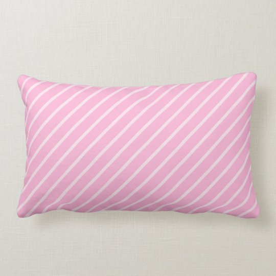 Candy Pink Diagonal Striped Pattern. Lumbar Pillow