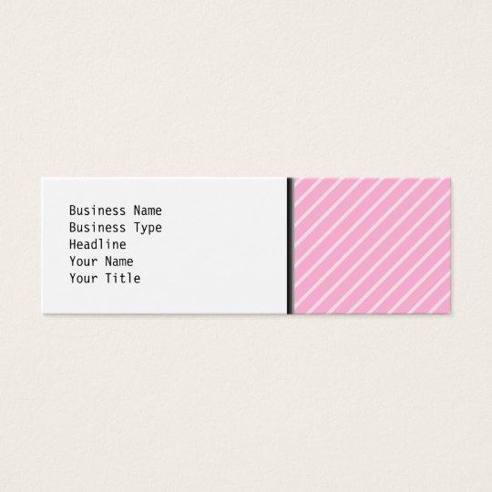 Candy Pink Diagonal Striped Pattern. Mini Business Card