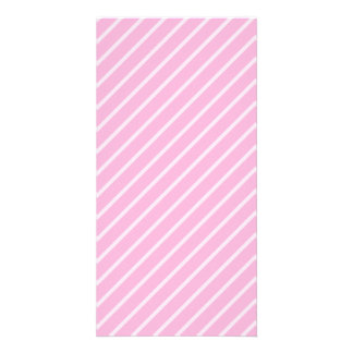 Candy Pink Diagonal Striped Pattern. Photo Card Template