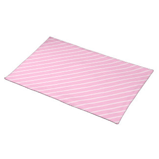 Candy Pink Diagonal Striped Pattern. Cloth Placemat