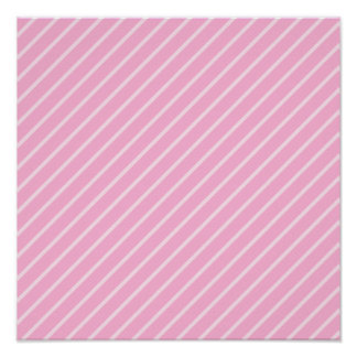 Candy Pink Diagonal Striped Pattern. Poster