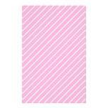 Candy Pink Diagonal Striped Pattern. Stationery