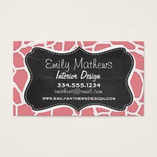 Candy Pink Giraffe Animal Print; Retro Chalk Business Card