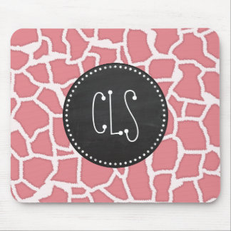 Candy Pink Giraffe Animal Print; Retro Chalk Mouse Pad