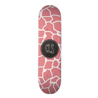 Candy Pink Giraffe Animal Print; Retro Chalk Skateboard Deck