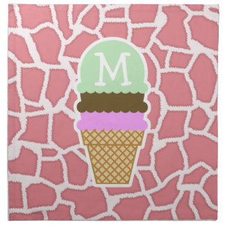 Candy Pink Giraffe; Ice Cream Cone Cloth Napkin