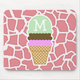 Candy Pink Giraffe; Ice Cream Cone Mouse Pad