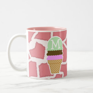 Candy Pink Giraffe; Ice Cream Cone Two-Tone Coffee Mug