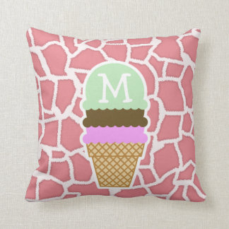 Candy Pink Giraffe; Ice Cream Cone Throw Pillow
