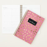 """Candy Pink Gold Glitter Dots Year and Name Planner<br><div class=""""desc"""">Start your year off on the right foot with this personalized and chic week and month planner featuring a pattern of faux gold glittered dots on a candy pink background. Don't forget to customize the front with the year and name of your choice!</div>"""