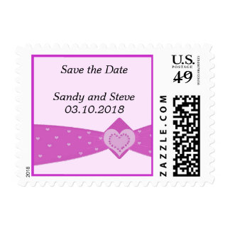 Candy Pink Heart Sash Save the Date Postage