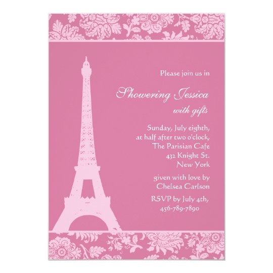 Candy Pink in Paris Bridal Shower Card