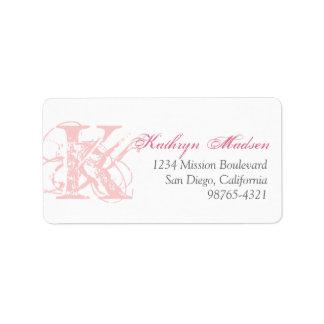 Candy pink monogram distress grunge return address address label