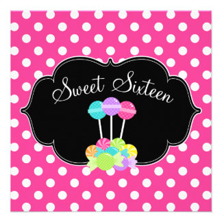Candy Pink Polka Dot Sweet 16 Birthday Invitations Personalized Invitation