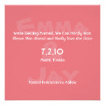 Candy Pink Simply Color Save the Date Custom Announcement