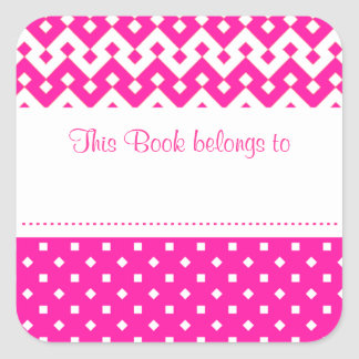 Candy Pink Stick-on Bookplates to Customize Square Sticker